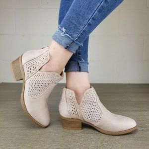 Shoes - Dusty Rose Perforated Cut Ankle Booties-  BB